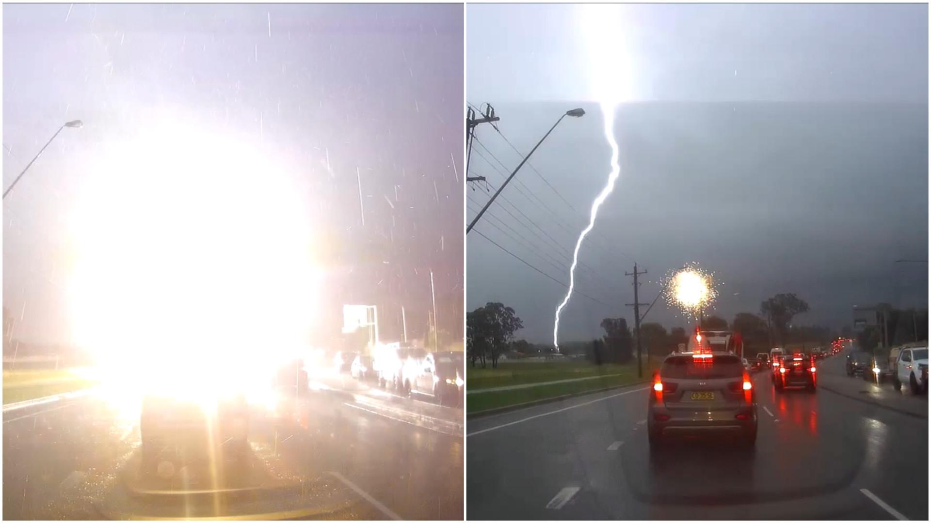 Relâmpago atinge poste de luz na Austrália