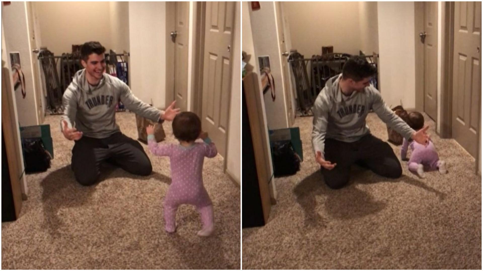 Bebê esfomeado ignora o pai por pacote de comida