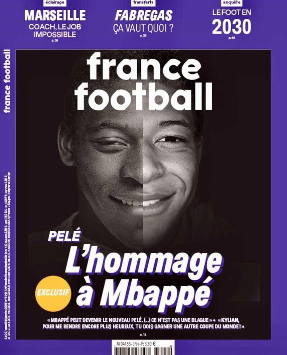 Pelé diz à revista francesa que Mbappé será o próximo rei do futebol