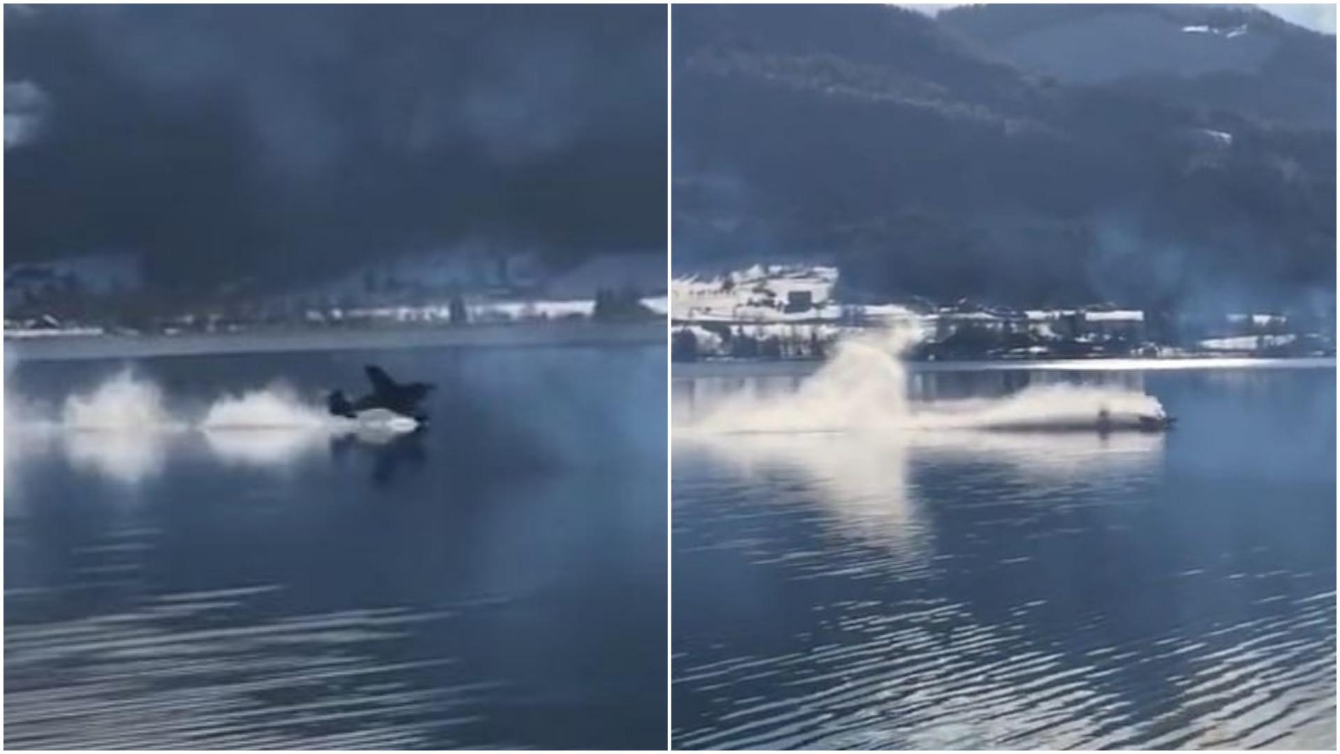 Avião de acrobacias faz pouso de emergência em lago austríaco
