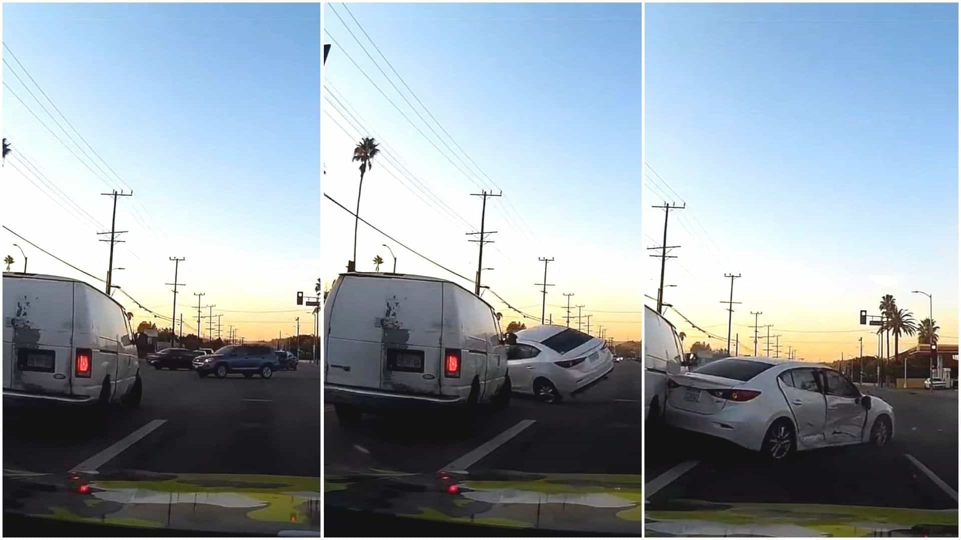 Motorista escapa de acidente por poucos segundos; veja