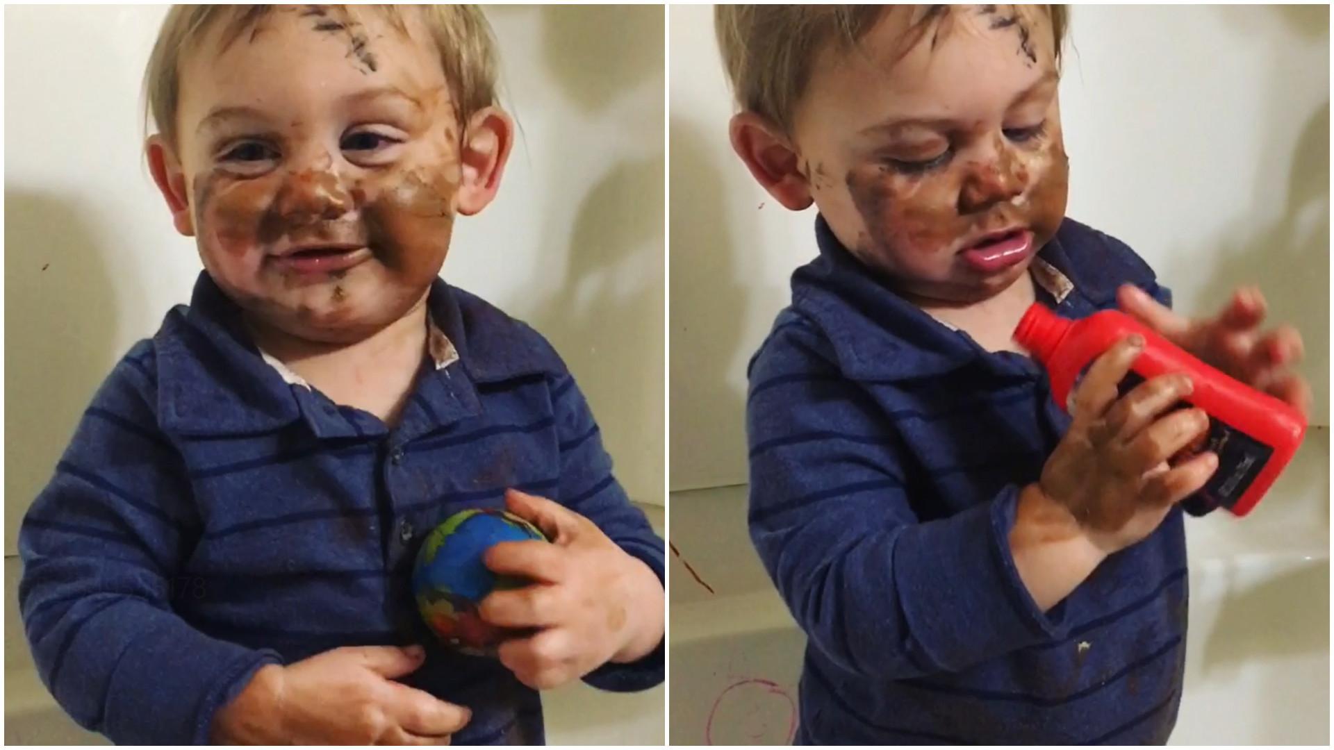 Menino usa maquiagem da mãe e cria 'obra de arte' no rosto