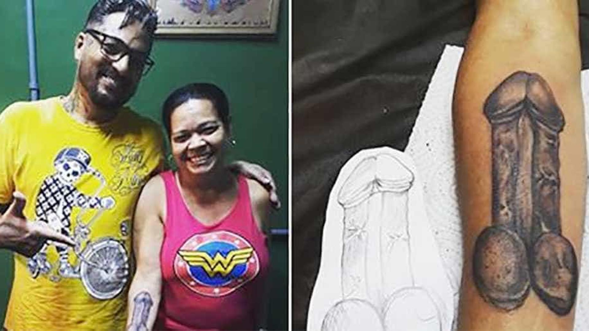 Mulher de 53 anos faz tatuagem de pênis no braço: 'O corpo é meu'