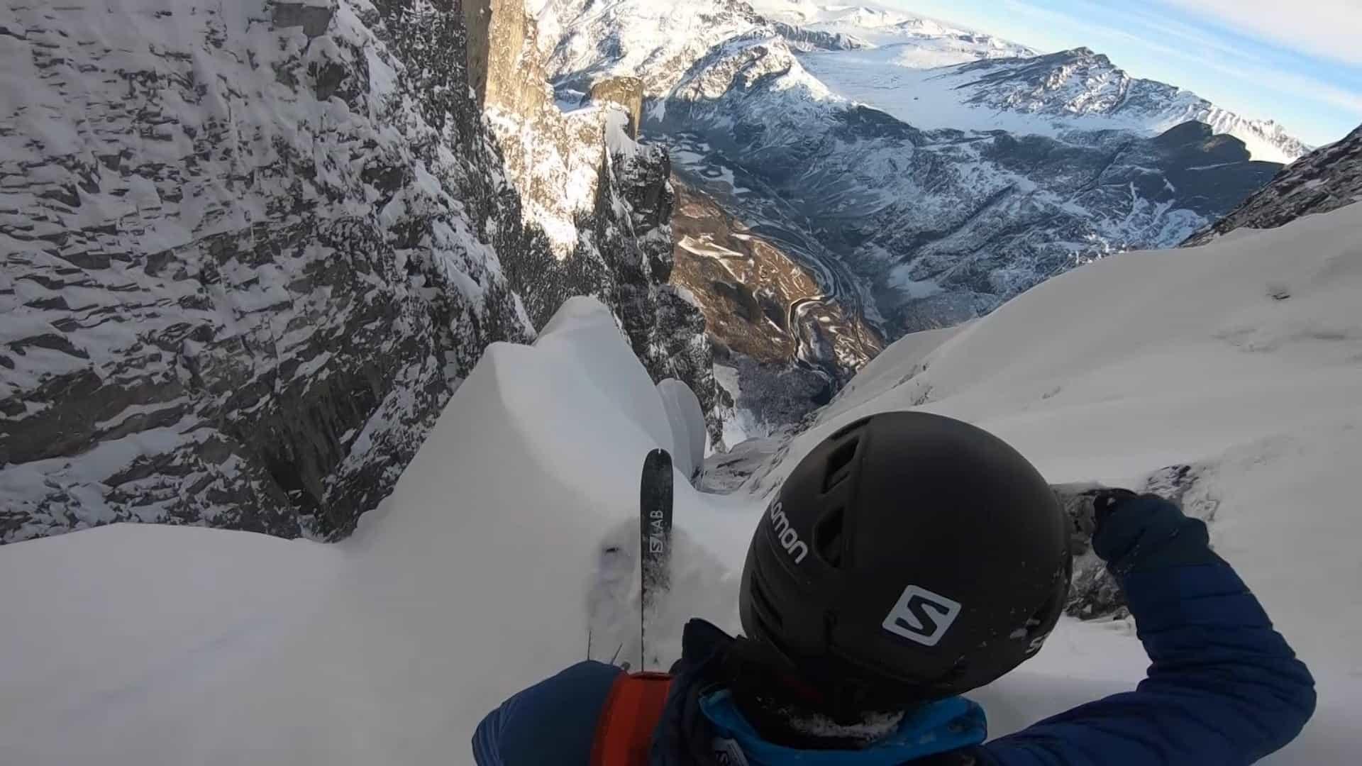 Esquiador desce parede de rocha mais alta da Europa