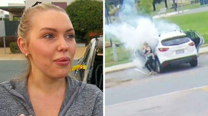 Mãe salva bebês segundos antes de carro pegar fogo; vídeo